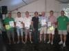 Gruppenbild der Ehrungen mit Bürgermeister und Obmann ohne Anton Wieser
